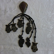 Massive Hand Made Ethnic Brown Agate Brooch w/ Drops
