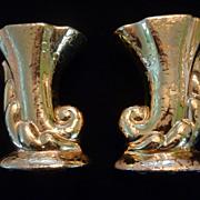 Pair Bel-Terr Weeping Gold Cornucopia Vases