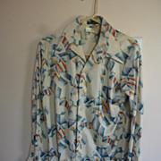 1970's Countess Mara, Portofino Polyester Disco Shirt, M