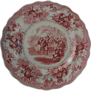 Pink Staffordshire Plate, The Sea, Adams, 1840