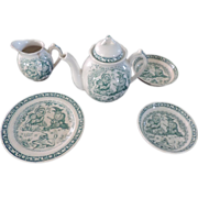 Punch & Judy Children's Tea Set, 6pc, 1890, Staffordshire