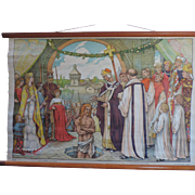 "The Baptism of Clovis, Belgian, Canvas, School Poster, 1920's, 24"" X 35"""