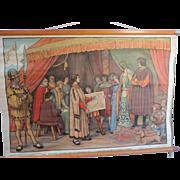 "Belgian School Poster, Canvas, Christopher Columbus, 1920's,  25"" X 34"""