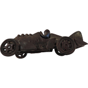 "Hubley Cast Iron Race Car with Center Fin, 6 1/2"""