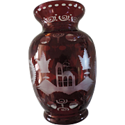SALE PENDING Ruby Cut To Clear Bohemian Glass Vase, 8 1/2""