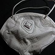 Vintage Sharif Alligator Stamped Champagne Leather Handbag