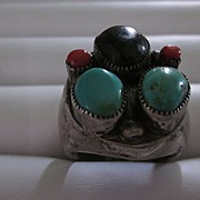 Turquoise, Onyx, Coral ,Heavy Silver Navajo Pawn Ring