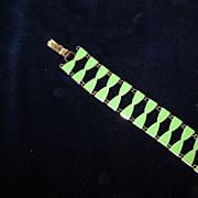 Light Green Enamel Hourglass Shaped Link Bracelet