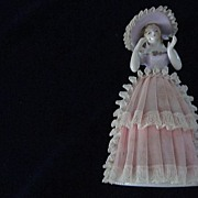 Figurine, Woman in Lace Dress and Hat, Japan