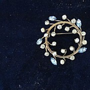 Openwork Clear Round, and Blue Marquise Cut Rhinestone Pin