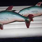 Dolphin Figural Salt and Pepper Shakers from Marineland  Pacific