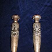 "Pair Heintz/SilverCrest Sterling on Bronze 9 1/2"" Candle Holders"