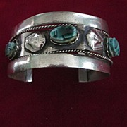 Green Scarab and Silver Sphinx Egyptian Revival Cuff Bracelet