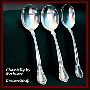 REDUCED Chantilly cream soup spoon in sterling by Gorham