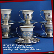 Demitasse cup holders and saucers with old Gorham marking, pattern # 5549 and Lenox inserts