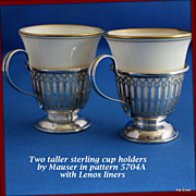Demi cup holders in sterling silver by Mauser with Lenox liners