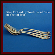 King Richard salad forks in solid sterling silver by Towle