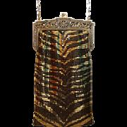 SALE Whiting & Davis mesh purse in zebra design