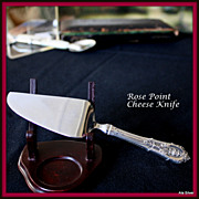 Rose Point cheese knife sterling handle w/stainless blade