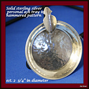 Ashtray in hammered sterling silver for personal use