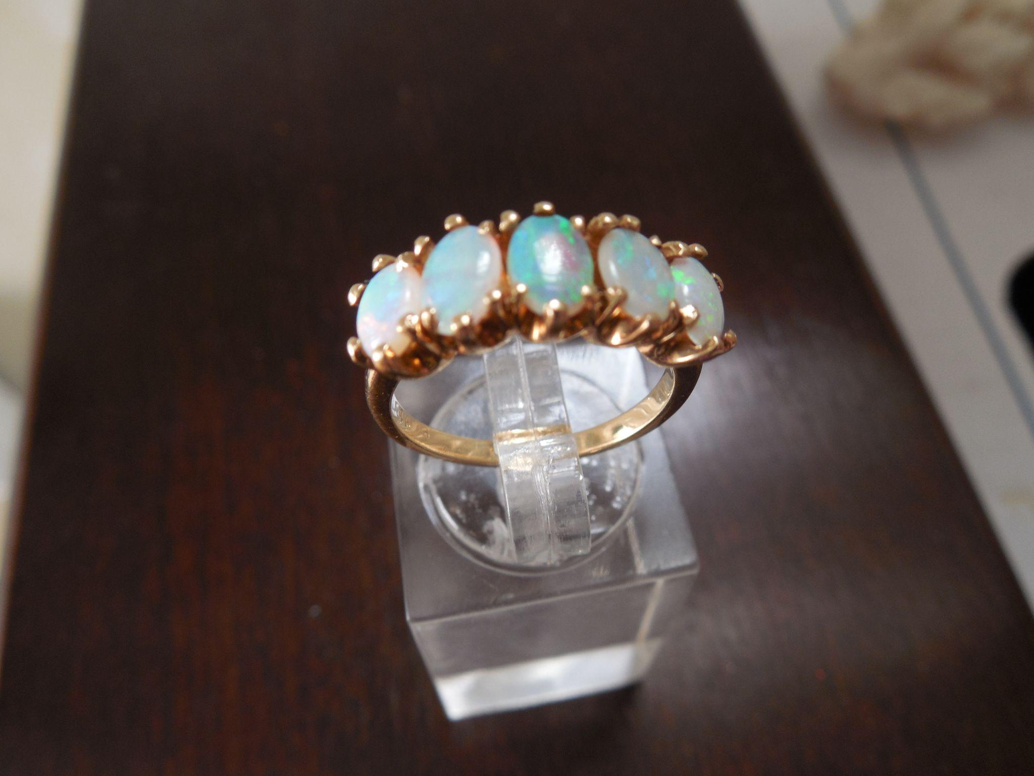 14k 5 opal band ring marquise from albie on ruby lane for Naugatuck glass company
