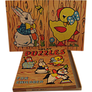 2 Vintage 1940s Children's Inlay Puzzles - Bunny & Chick - In Original Box