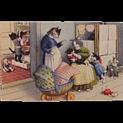 SOLD Alfred Mainzer Dressed Cats Postcard Max Kunzli Illustrated Zurich, Switzerland printed M