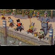 SOLD Alfred Mainzer Dressed Cats Postcard Max Kunzli Illustrated Zurich, Switzerland printed F