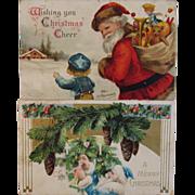SOLD Ellen Clapsaddle Santa Postcard and a Blue Robe Santa Postcard - Red Tag Sale Item