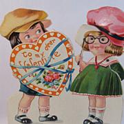 2 Vintage Oversize Valentines, Louis Katz Mechanical and Doily Overlay