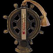 Vintage Souvenir Ship's Wheel Thermometer from Miami Beach, Florida