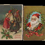 SOLD Two Vintage Santa Claus Postcards