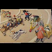 SOLD Alfred Mainzer Dressed Cats Postcard Max Kunzli Illustrated Zurich, Switzerland Racing Ca