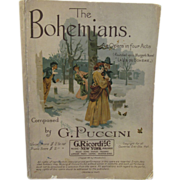 1897 The Bohemians Puccini Opera in 4 Acts Printed in Italy