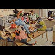 SOLD Alfred Mainzer Dressed Cats Postcard Max Kunzli Illustrated Zurich, Switzerland Kitchen M