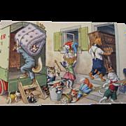 SOLD Alfred Mainzer Dressed Cats Postcard Max Kunzli Illustrated Zurich, Switzerland Moving Da