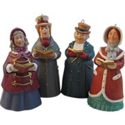 SOLD 4 Hallmark Porcelain Dickens Christmas Caroler Bell Ornaments
