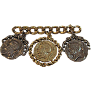 Vintage Roman Coin Pin