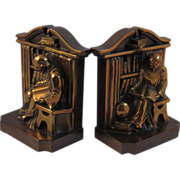 Vintage Cast Metal Monk in Library Bookends