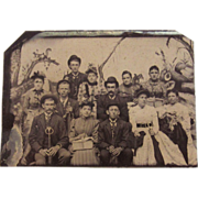Tin Type Photograph of a Family of 12