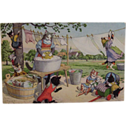 SOLD Alfred Mainzer Dressed Cats Postcard Max Kunzli Illustrated Zurich, Switzerland Wash Day