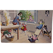 SOLD Alfred Mainzer Dressed Cats Postcard Max Kunzli Illustrated Zurich, Switzerland with Cats