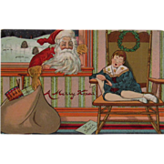 1909 Santa Christmas Postcard Embossed Sleeping Child