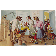 SOLD Alfred Mainzer Dressed Cats Postcard Cats at the Dentist