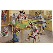 SOLD Alfred Mainzer Dressed Cats Postcard Cats in the Kitchen Baking