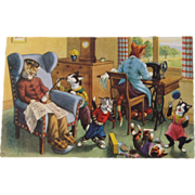 SOLD Alfred Mainzer Dressed Cats Postcard Sewing & Sleeping Cats