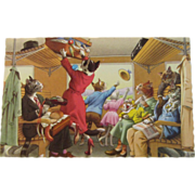 SOLD Alfred Mainzer Dressed Cats Postcard Traveling Cats Riding in a Train Car