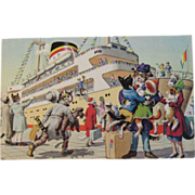 SOLD Alfred Mainzer Dressed Cats Postcard Cats Boarding a Cruise Ship