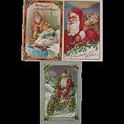 SOLD 3 Embossed Santa Postcards - Tuck & Sons & Saxony