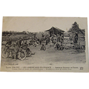 WWI American Soldiers in France Postcard ~ Les Americains En France